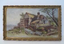 Oil on Board, EARLY SAWMILL ON HILLSIDE, 19th Century, Unsigned, Framed, VG
