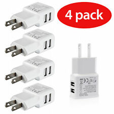4 Pack DUAL USB 5V 2.1/1 Amp 2-port Wall Charger Tablets/ Phones Samsung LG HTC