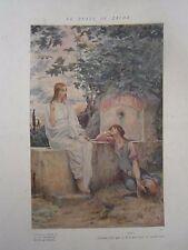 Gravure Le puit de Jacob jésus religion composition de Luc Olivier Merson