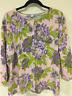 Isaac Mizrahi Womens Floral 3/4 Sleeve Button Front Green Purple Blouse Sz 2X