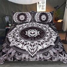 Mysterious Bedding Set Black White Flower Duvet Cover Mandala by Brizbazaar Art