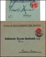 """DR: """"SAAR"""" 2 Bfe a. Völklingen u. Saarbrücken 1903 u. 1920 (820)"""