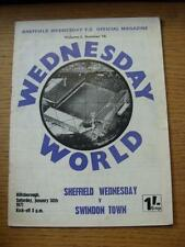 30/01/1971 Sheffield Wednesday v Swindon Town  (pin holes, folded, creased, slig