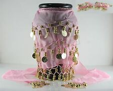 Pink Belly Dancing Hip Dance Skirt Ethnic Shawl Scarf Belt Wrap Gold Coins
