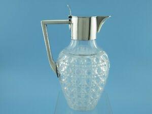 Karaffe - Kristallglas / 800er Silber - 0,9 l - Albers - Hamburg um 1900  #6138