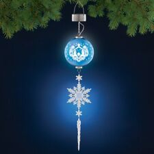 Solar Lighted Nativity Scene & Snowflake Hanging Porch Patio Christmas Dangler