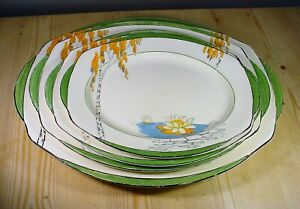 """Burleigh Ware Zenith 1930s Art Deco """"Lily Pond"""" FOUR Graduated Platters"""