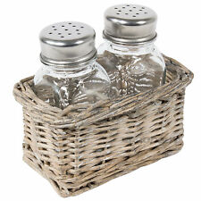 Glass Salt & Pepper Pots in Wicker Basket Caddy Shakers Dispensers Condiment Set