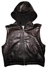ARMANI EXCHANGE Black Leather Sleeveless Hooded Zip-Up Hoodie Vest Jacket MEDIUM