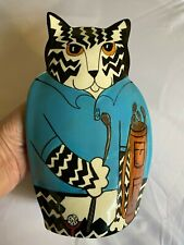 "Cats by Nina Blue Golfer Golf Cat Vase Nina Lyman 10"" Ceramic, Cat Lover Gift"