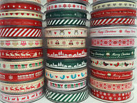 Christmas Ribbons Grosgrain by Bertie's Bows 9mm & 16mm  Cut to order Free P&P