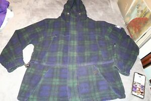 VINTAGE Tommy Hilfiger TARTAN FLEECE Plaid Jacket Mens SIZE Large WITH HOOD