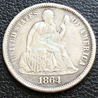 1864 S Seated Liberty Dime 5c High Grade XF  Details #31186