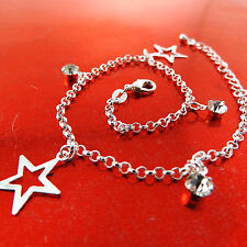 Anklet Real 925 Sterling Silver S/F Diamond Simulated Star Charm Design Fs3A769