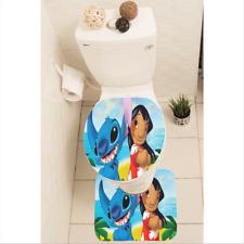 Lilo Stitch Set of 3 Bathroom Rug Mat Toilet Lid Cover y70 w2031