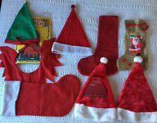 Joblot Bundle of Christmas Santa Hats, elf hat and collar, stockings 8 items