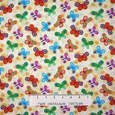 Spring Garden Fabric - Flight of Fancy Butterfly Toss Cream- Studio E YARD