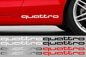 2 X QUATTRO pour AUDI 38cmX4,5cm AUTO AUTOCOLLANT STICKER QA001