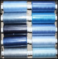 10 REELS BLUES MOON SPUN POLYESTER SEWING THREAD COTTON - 1000 YARD REELS