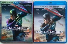 MARVEL CAPTAIN AMERICA THE WINTER SOLDIER 3D/2D BLU RAY + RARE OOP SLIPCOVER