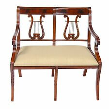 NLR035, Niagara Furniture, Solid Mahogany Harp Back or Lyre Back Two Seat Chair