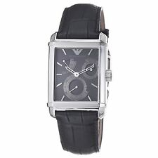 EMPORIO ARMANI MECCANICO,AUTOMATIC BLACK ALLIGATOR BAND+SILVER TONE WATCH AR4235