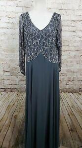 J Kara Dress Gray Sequin Long Size 16 Long Sleeve V Neck NWT