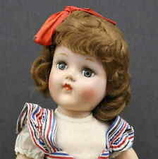 UNMARKED  TONI  HARD  PLASTIC  DOLL with Red-White-Blue Striped Dress