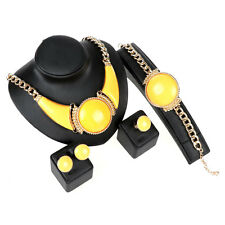 Fashion Women Gold/Plated Resin Round Necklace Bracelet Earring Ring Jewelry Set