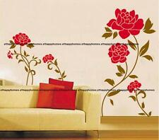 RED ROSE Flowers Blossom Wall Stickers Vinyl Art Decal Decor TV Bedroom Lounge