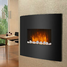 Black Glass Electric Fireplace Fire Slim Curved Wall Mounted Living Room Heater