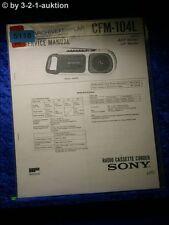 Sony Service Manual CFM 104L Radio Cassette Corder (#5118)