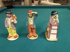 3 Vintage Clowns Hobos Figurines From The Emmett Kelly Jr. Collection Flambro