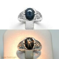 9x7mm Natural 6 Ray Blue Star-Sapphire Ring in 925 Sterling Silver