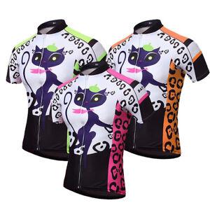 Women's Cycling Biking Jersey Full Zip MTB Bicycle Cycle Shirt Tops Cat Girl