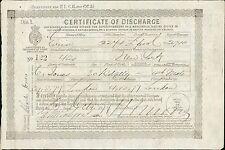 'ERIN' 1877.  Charles Jones. -  Ship Certificate of Discharge.  YZ.33