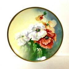 Hand Painted Limoges Porcelain Plate Flower Painted Artist Signed