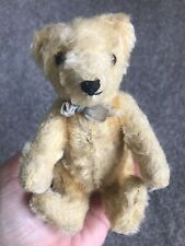 """ANTIQUE  STEIFF MINIATURE TEDDY BEAR 6"""" Hard Stuffed Pointy Features Tan Mohair"""