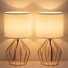 HAITRALRose Gold Table Lamps Set of 2 Minimalist Bedside Lamp Modern Basket Cage