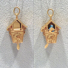 SOLID 14K YELLOW GOLD 3-D CUCKOO CLOCK CHARM w/ POP-OUT CUCKOO