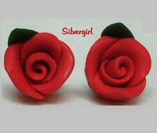 Polymer Clay Small Rose Flower Stud Earrings Blue Pink Lilac Purple Black Yellow