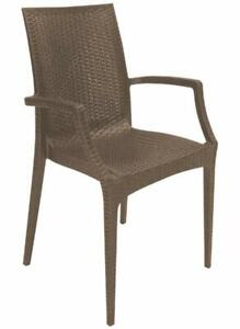 Green Boheme Rattan Bistrot Indoor Outdoor Patio Dining Chairs Stackable Pair