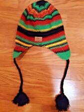 Adult SCREAMER Beanie - BLACK Earflaps Hand Knit Winter Ski Snow Hat