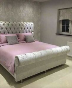 NEW CHESTERFIELD SLEIGH BED ELEGANT DESIGN QUALITY FABRIC FREE & FAST DELIVERY