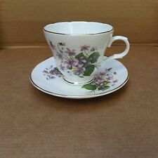 Crown Trent Fine Bone China Cup & Saucer – Staffordshire, England–Purple Floral