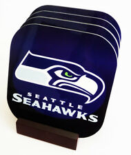 New Seattle SEAHAWKS Sports COASTERS Set of 4 Boxed with wood stand