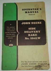 John Deere 594LW Side Delivery Rake Operators / Parts Manual Original! JD 3/52