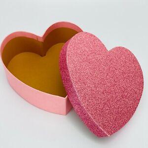 Small Heart Shape Box Hand Made Modern Pink Glitter Craft Trinket NEW