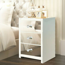 Mirrored Glass Bedside Table Cabinet Drawers Crystal Handles Nightstand Bedroom