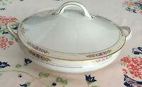 Vintage Noritake serving bowl w/lid. Ansonia pattern. White w/gold, pink, & blue
